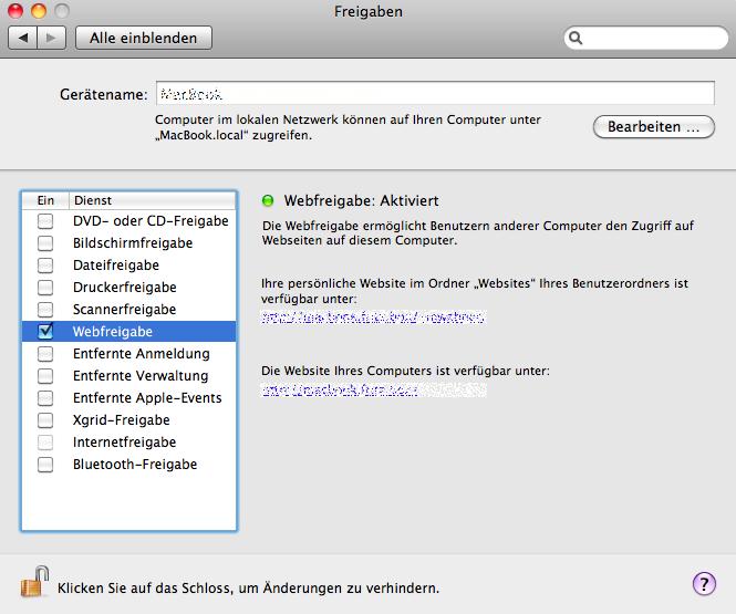 Webfreigabe1 - Installation einer Webentwicklungumgebung mit den Bordmitteln von Mac OSX (Snow Leopard)