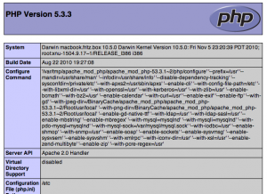 phpinfo 300x218 - Installation einer Webentwicklungumgebung mit den Bordmitteln von Mac OSX (Snow Leopard)